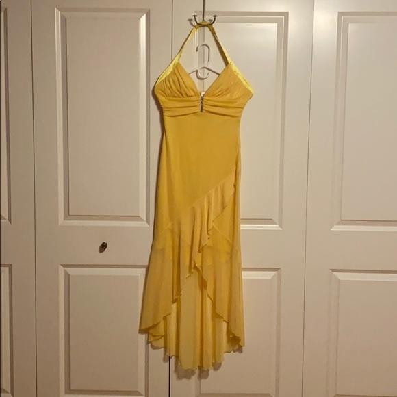 long yellow semi sheer dress